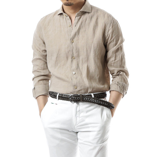 Beluga Washed Beige Linen Shirts