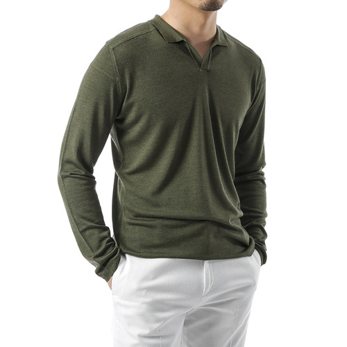 Olive Green Open Collar