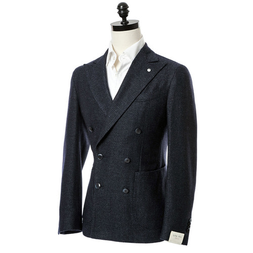 Navy Bird Eye Double Breast Jacket
