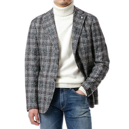 Gray Over Check Jacket