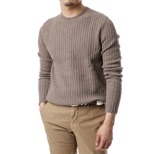Ribbed Cashmere&Wool Knit (Beige)