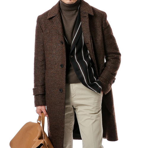 Brown boucle Cisternino Mac Coat