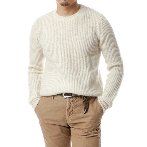 Ivory Ribbed Mohair Knit