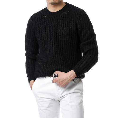 Black Moss Mohair Knit