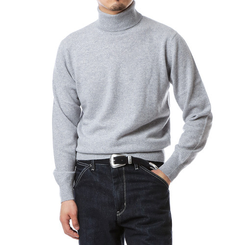 Cashmere Purity Light Gray Turtleneck