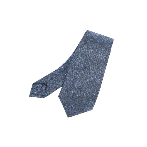 Wool&Silk Navy Dubble Fold Pop Color Tie