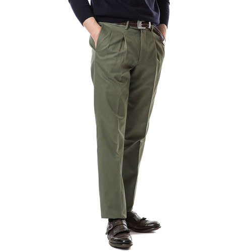 Two Pleats Cotton Pant (Olive)