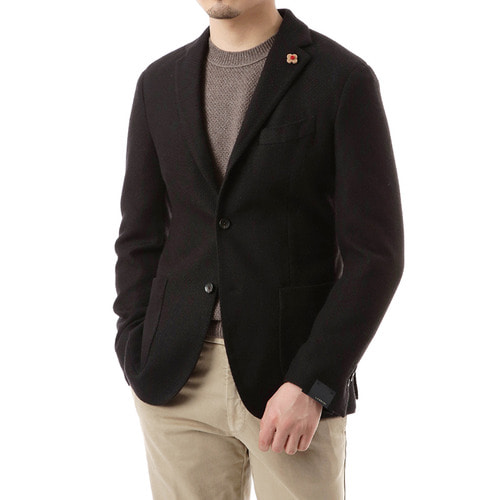Black Honeycomb Knit Single Jacket