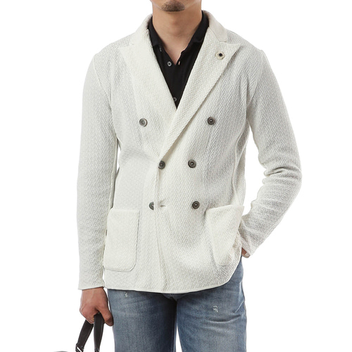 White Double Lumping Knit Jacket