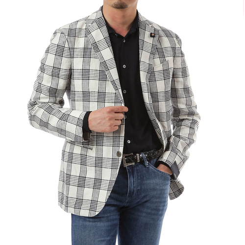 White Brittle Overcheck Jacket