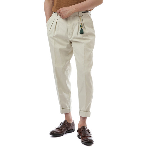BOMBAY Carrot Fit Linen Pants (Ivory)