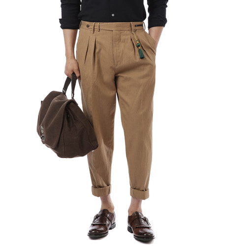 BOMBAY Carrot Fit Linen Pants (BROWN)