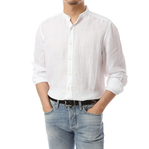 Open China Collar white Linen Shirts