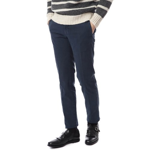 Midnight. Slim Fit Pattern Cotton Pants (Navy)