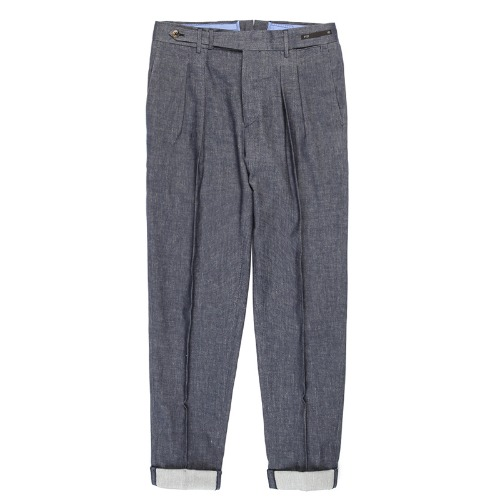 MAESTRO. Carrot Fit Linen Pants (Blue Navy)