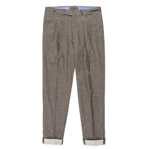 MAESTRO. Carrot Fit Linen Pants (Brown)
