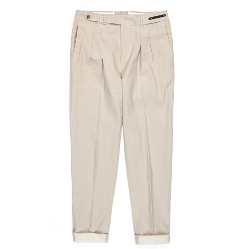 MAESTRO. Carrot Fit Linen Pants (Light Beige)