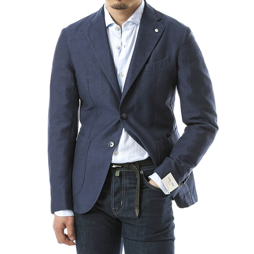 Navy Hopsack Tweed Jacket