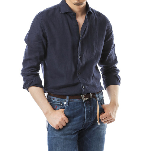 Beluga Washed Navy Linen Shirts
