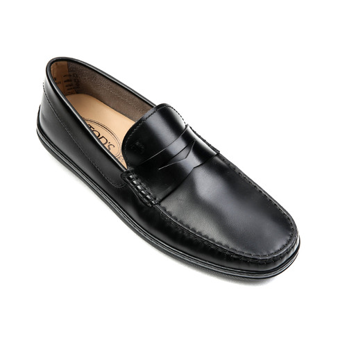 Crystal Box Leather Moccasins (Black)