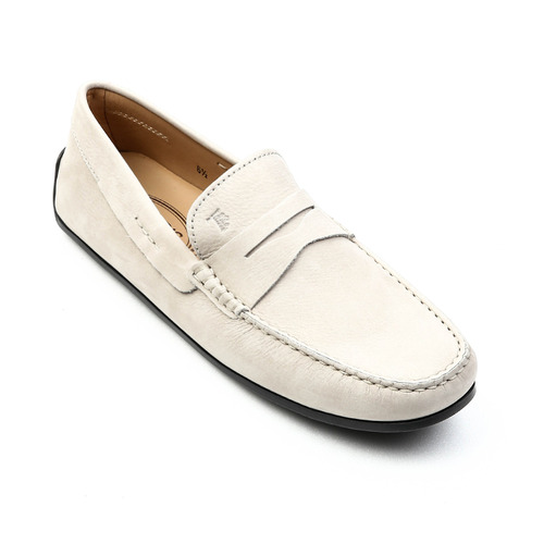 City New Gommino Moccasins in Nubuck (Light Gray)