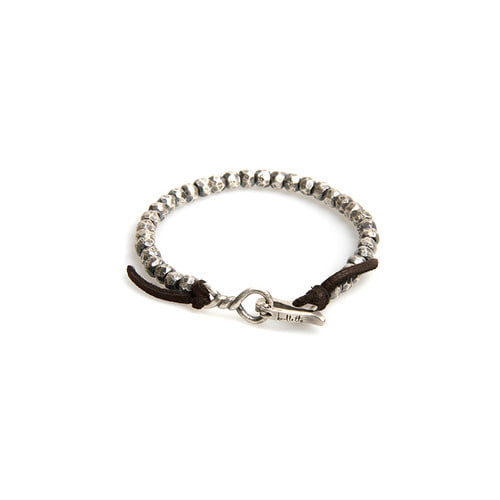 Nugget Mix Leather Silver Bracelet