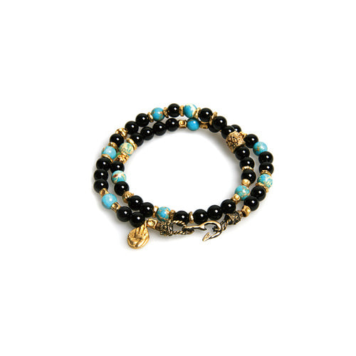 Turquoise Mix  Double Layered Bracelet