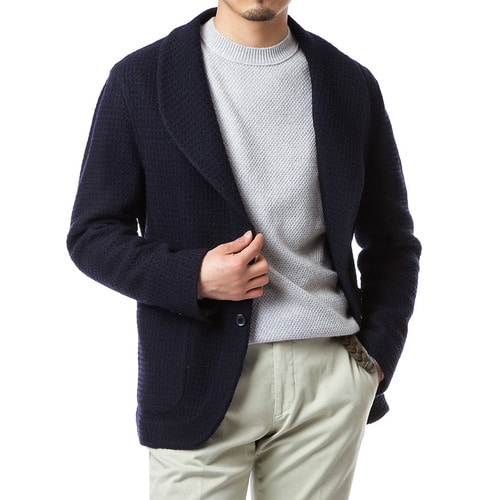 Navy Knit Shawl Collar Jacket