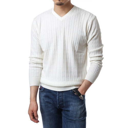 Cable V-Neck Ivory