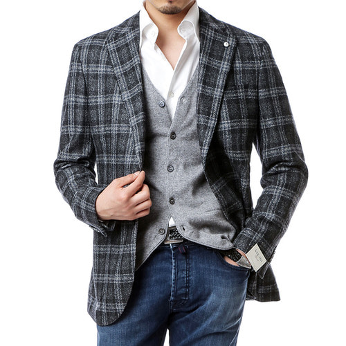 Grey Over Check Jacket