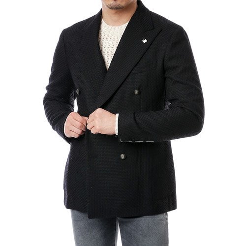 Black Knit Texture Double Breast Jacket