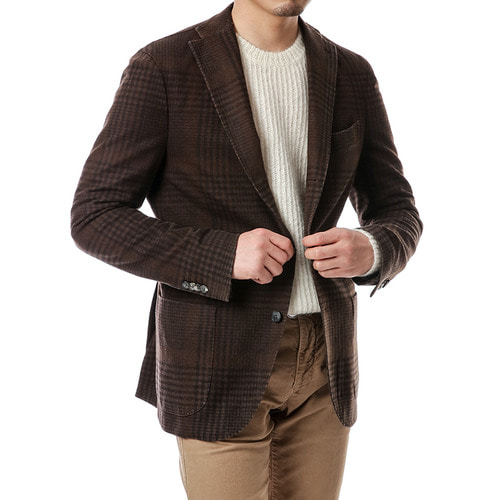 Dark Brown soft Glen Check Jacket