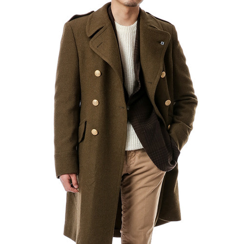Khaki Military DoubleBreast Coat