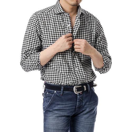Black gingham Check Shirts