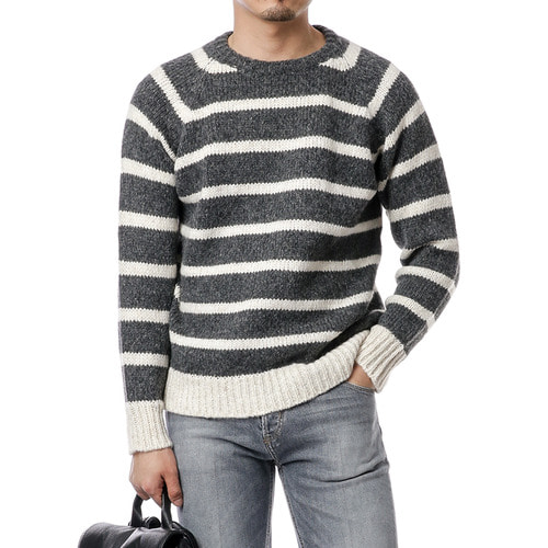 Gray Stripe Alpaca Knit