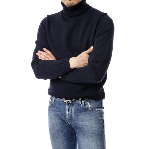 Navy Plain Row Turtleneck