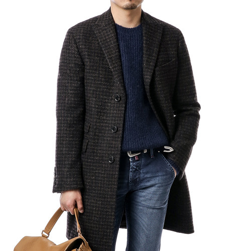 Brown Canonico Alpaca Gingham Coat