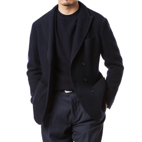 Navy Doublebreast Front Cut Jacket