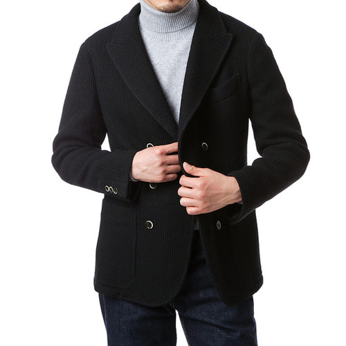 Black Doublebreast Front Cut Jacket