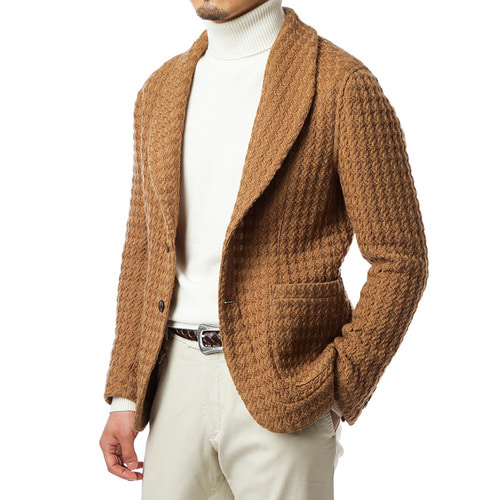 Beige Knit Shawl Collar Jacket