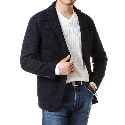 Navy Tailored Knit Jacket