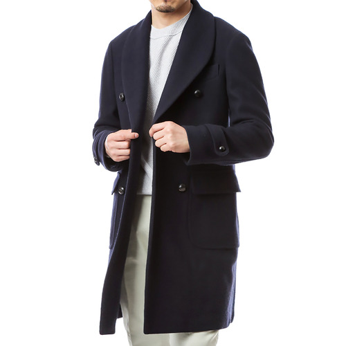 Stile Shawl Collar Double Coat (Navy)