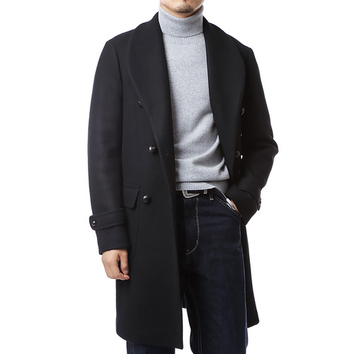 Stile Shawl Collar Double Coat (Black)