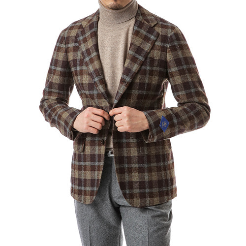 Brown Over Check Jacket