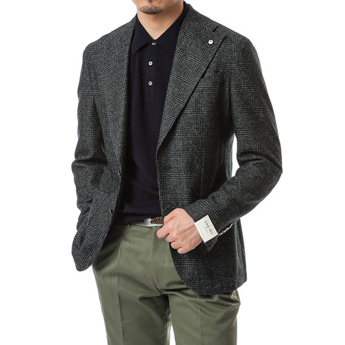 Wide Lapel Olive Glen Check Jacket
