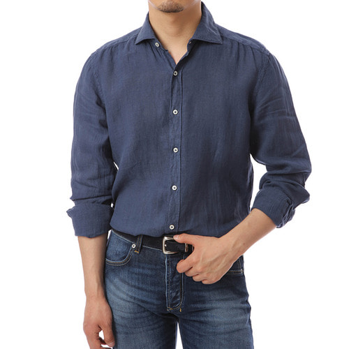 Angle Collar Blue Linen Shirts