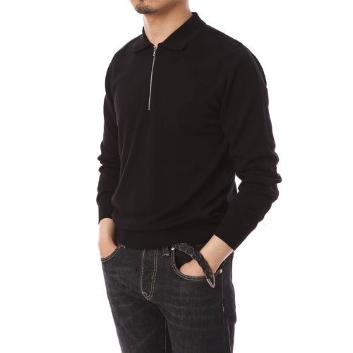 Poloneck Merino Wool Zip-up Knit Black