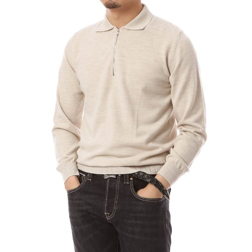 Poloneck Merino Wool Zip-up Knit Oatmeal