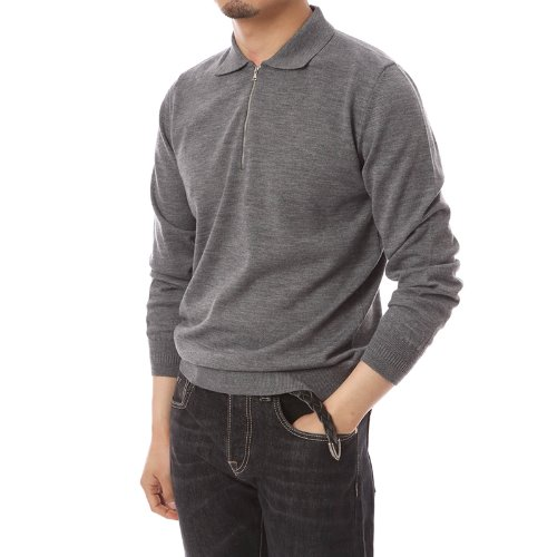 Poloneck Merino Wool Zip-up Knit Gray