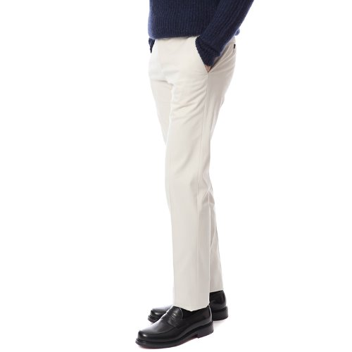 ELEGANCE. Slim Fit Muro Chino Pants (Ivory)